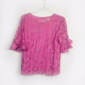 Nanette Lepore Lilac Purple Lace Short Sleeve Top